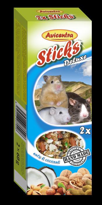 Avicentra s.r.o. Tyčinky s ořechy a kokosem pro křečky, potkany a myši 2 ks
