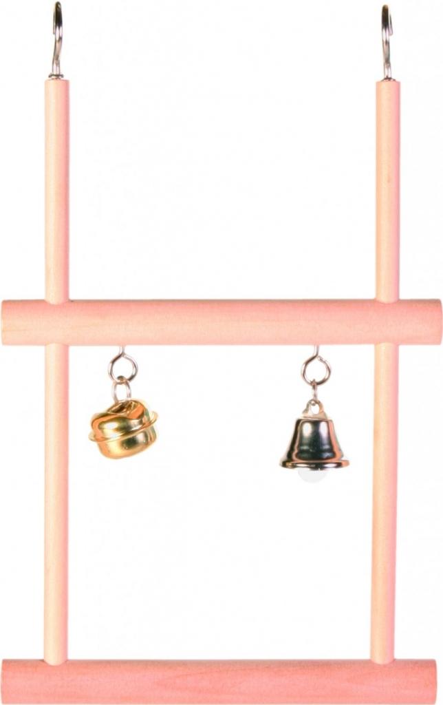 Trixie dvojitá dřevěná houpačka se zvonkem a rolničkou 12 x 20 cm