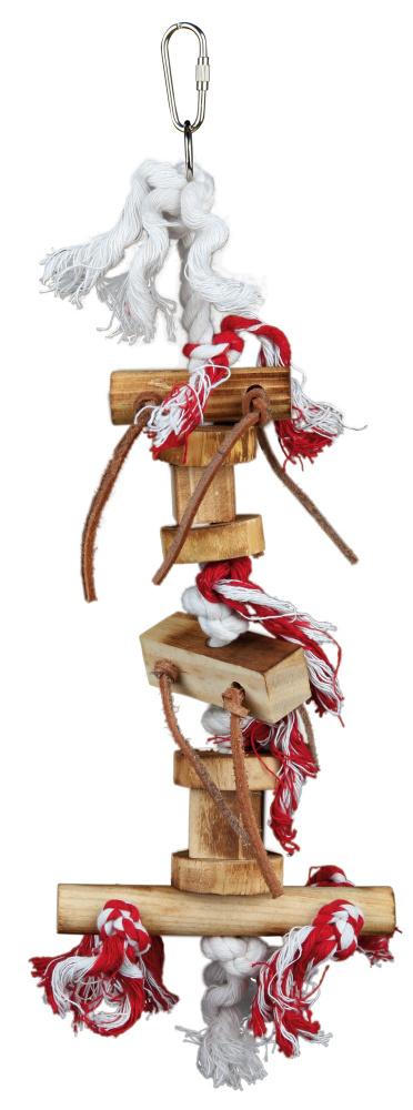 Trixie závěsná dřevěná hračka špalíky s uzlíky a koženými šňůrkami 35 cm