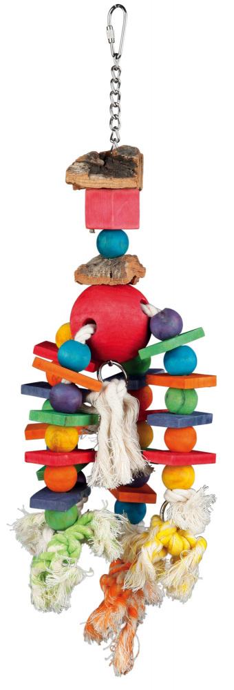 Trixie závěsná hračka s různobarevnými kostkami a kuličkami na uzlících 35 cm