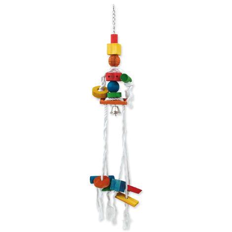 BIRD JEWEL závěsná dřevěná hračka medůza s provazy 70 cm